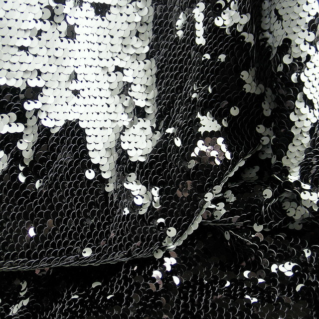 Stretch Magic sequined black and white glossy Jersey
