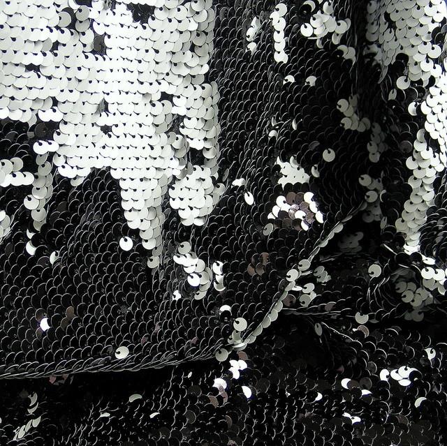 Stretch Zauber Pailletten Schwarz-Weiß Glänzend auf Jersey