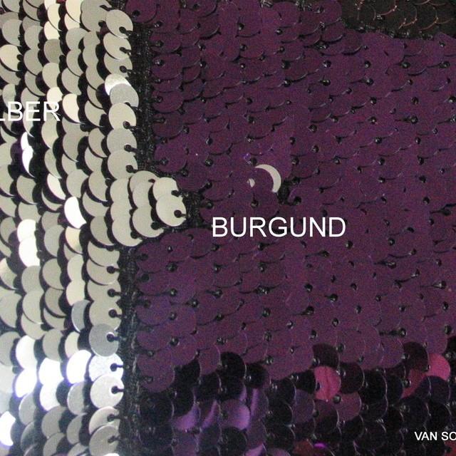 Stretch Zauber Pailletten tief dunkel Burgund - Silber