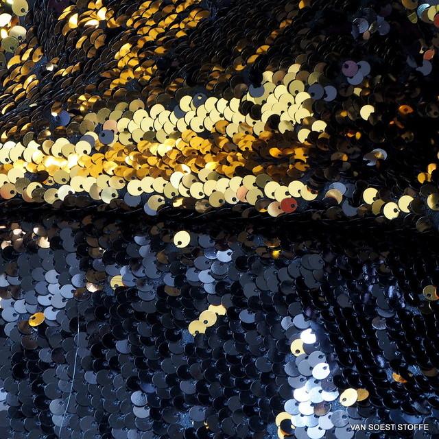 Stretch Zauber Pailletten in Schwarz + Gold glänzend auf Feinjersey
