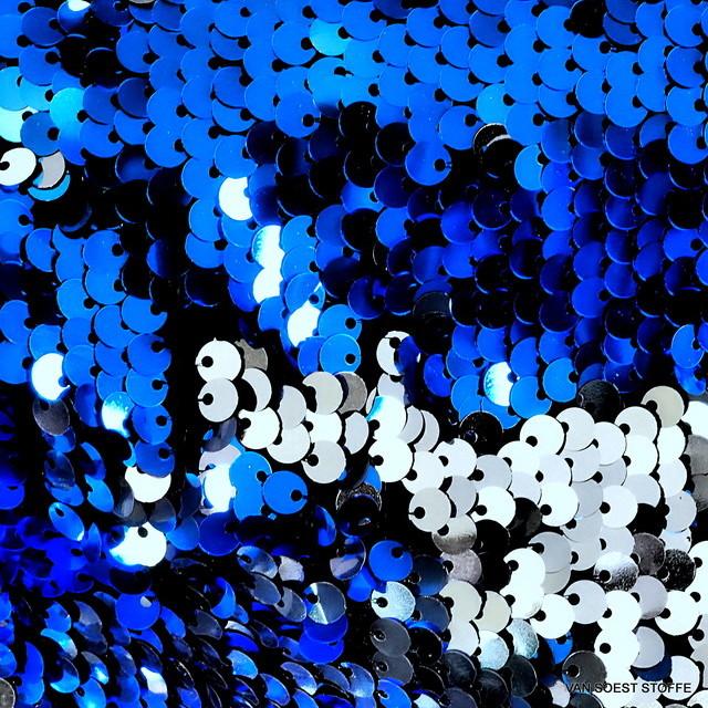 Stretch Zauber Pailletten in Silber + Blau glänzend auf Feinjersey