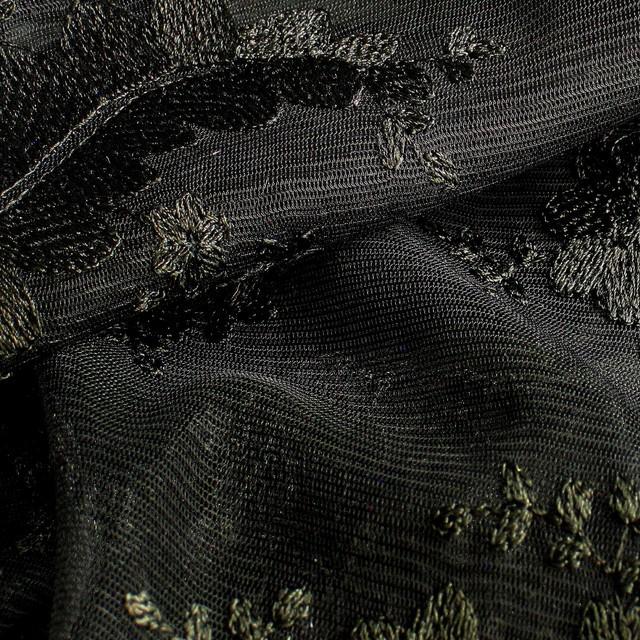 Tiefschwarzer Bogen Blumen Spitze auf Tüll.   Ansicht: Tiefschwarze Blümchen/Blätter Spitze