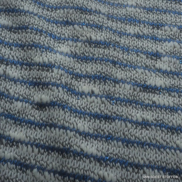 Tweed coarse knit stripes with micro sequins in cobalt