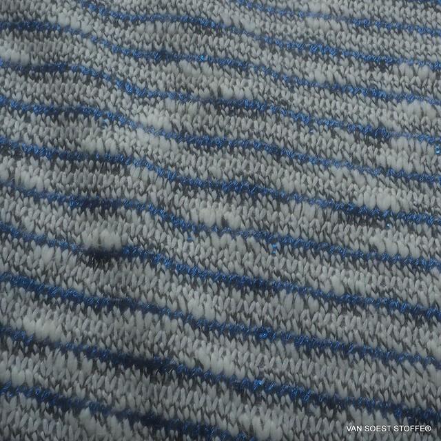 Tweed Grobstrick Streifen mit Micro Pailletten in Kobalt