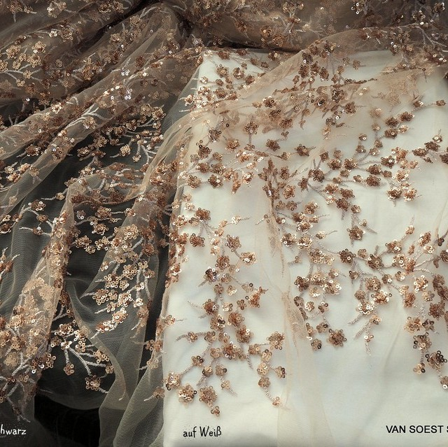 White-gold branches of mini sequins on skin colored tulle. | View: White-gold branches of mini sequins on skin colored tulle.