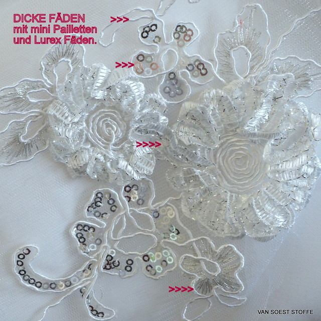 White coloured flower lace on white mesh