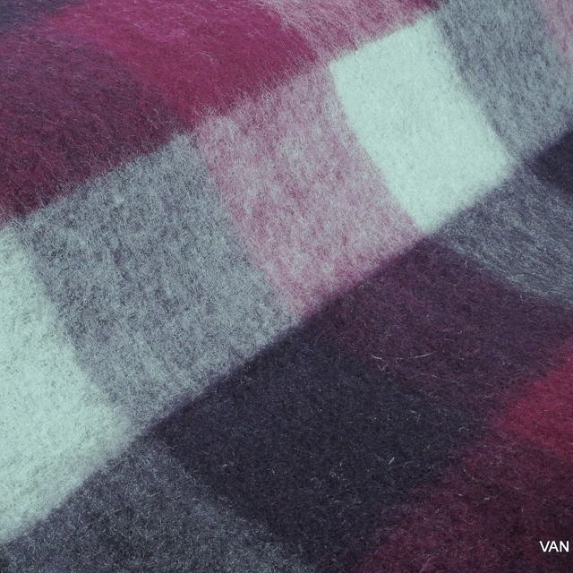 Wool - Mohair check in wine red - magenta gray