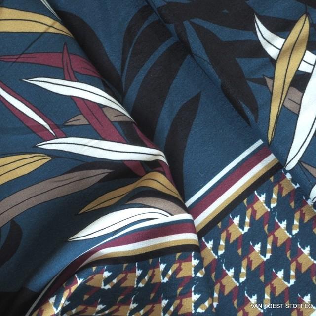 ausgefallener Blätterdruck auf Viskose mit einseitigem Pepita Bordüren Abschluss | Ansicht: ausgefallener Blätterdruck auf Viskose mit einseitigem Pepita Bordüren Abschluss