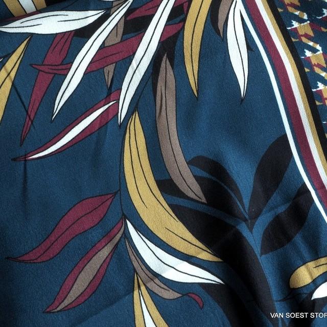 ausgefallener Blätterdruck auf Viskose mit einseitigem Pepita Bordüren Abschluss | Ansicht: usgefallener Blätterdruck auf Viskose mit einseitigem Pepita Bordüren Abschluss