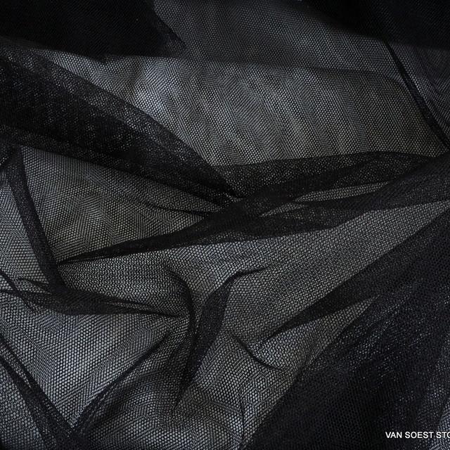 Baumwoll/Polyester Soft Tüll in Schwarz
