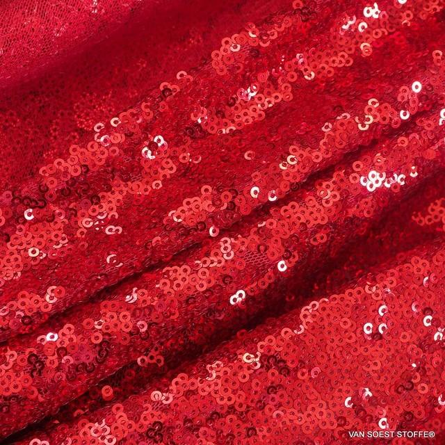 betörende Mini Pailletten auf Ton in Ton Stretch Tüll in Erdbeer Rot | Ansicht: betörende Mini Pailletten auf Ton in Ton Stretch Tüll in Erdbeer Rot
