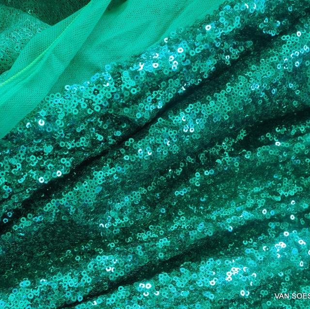 betörende Mini Pailletten auf Ton in Ton Stretch Tüll in Mint Grün | Ansicht: betörende Mini Pailletten auf Ton in Ton Stretch Tüll in Mint Grün