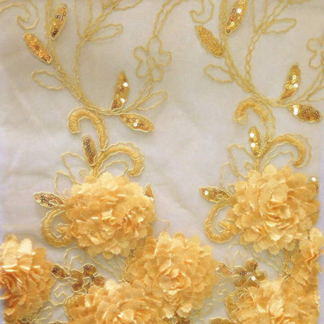 Blumen Bordüren Spitze in Gold / Gelb