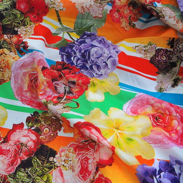 Blumen und Streifen bedruckter 100% Baumwoll Batist