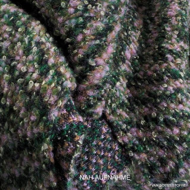 Bouclé Tweed Maxi-Fischgrat in Oliv-Grau