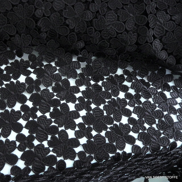 Couture Guipure Blümchen Spitze in 5 Farben - Schwarz