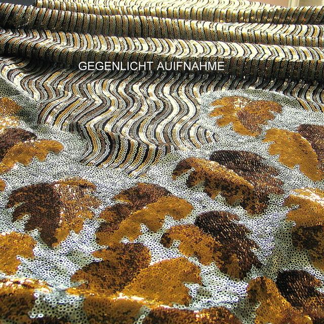 Couture Pailletten Bordüre in Gold Silber Schwarz
