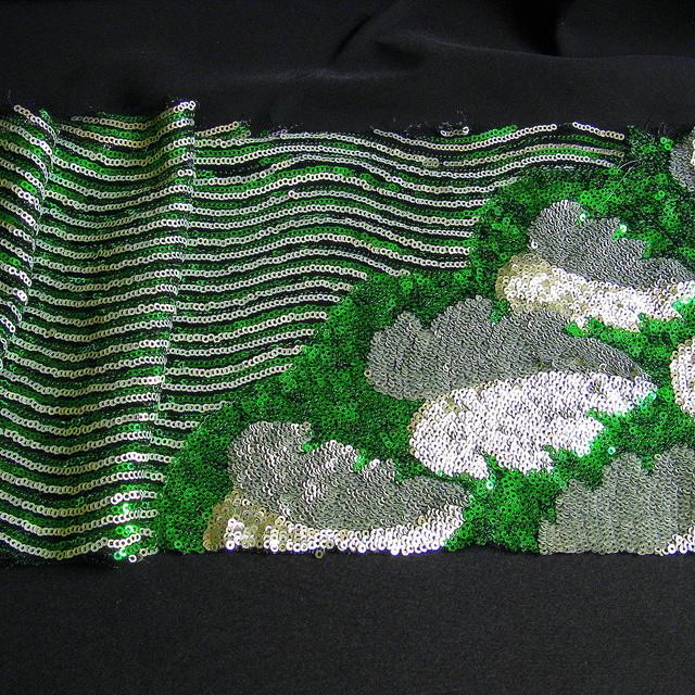 Couture Pailletten Bordüre in Smaragd-Grün Silber Schwarz