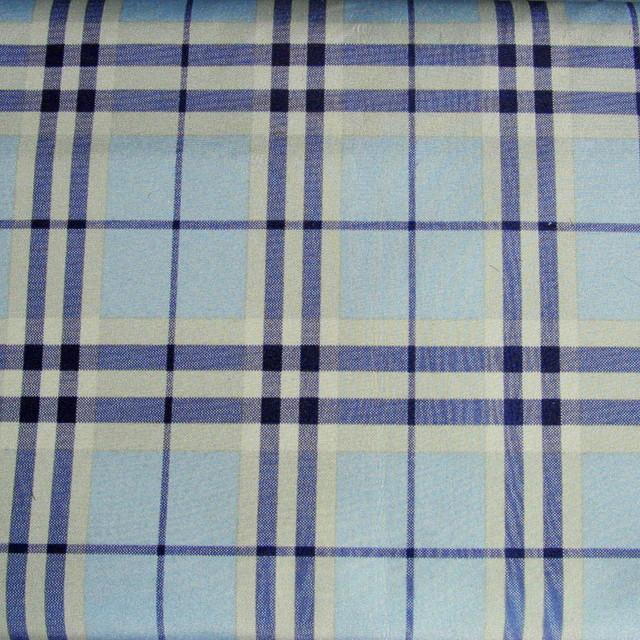 Doppelgewebe KARO und Lederimitat in Indigo / Bleu / Weiß