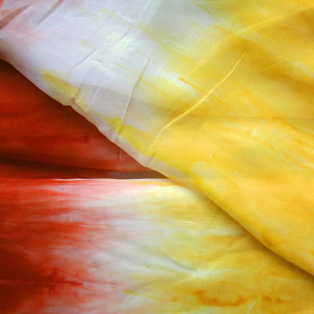 Dreifarben Chiffon degradé in orange weiß gelb