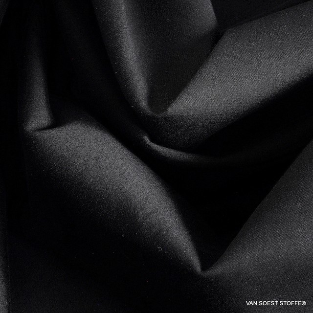 elegant, matt satin stretch in deep black - Tencel™ blended fabric