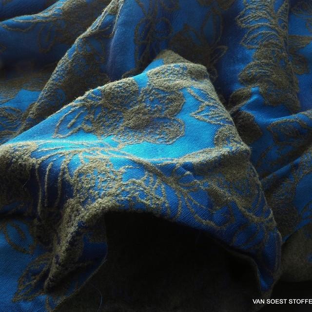 floraler Couture Jaquard u.a. mit Wolle & Viskose Türkis Oliv   Ansicht: floraler Couture Jaquard u.a. mit Wolle & Viskose Türkis Oliv