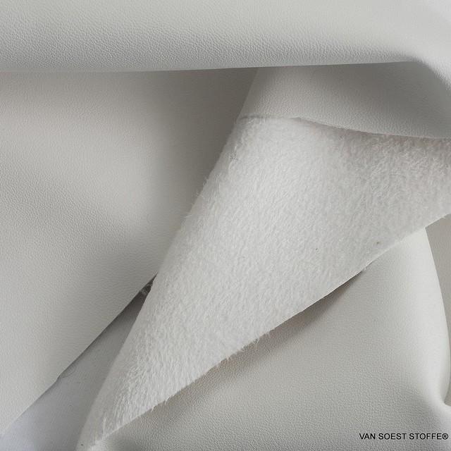 hochwertiges Nappa Lederimitat mit Wildleder Abseite in Weiss | Ansicht: hochwertiges Nappa Lederimitat mit Wildleder Abseite in Weiss