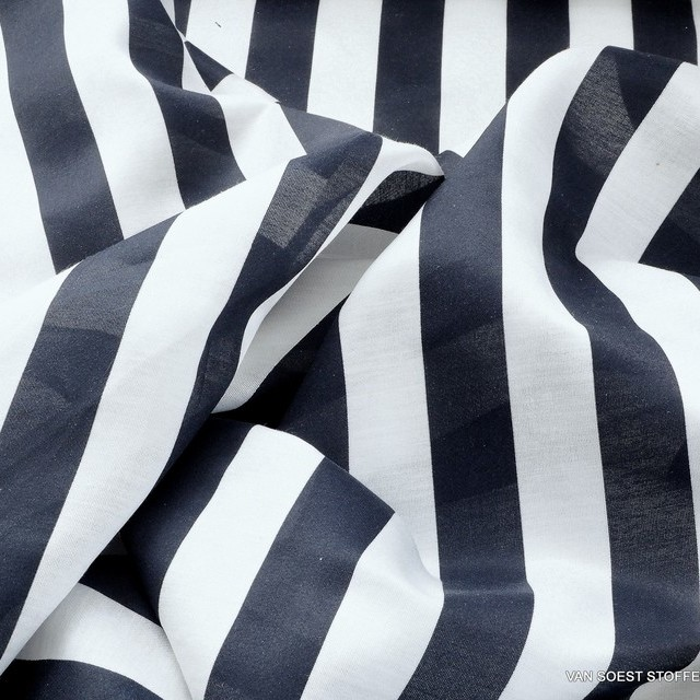 Italian designer block stripes in classic marine blue and white