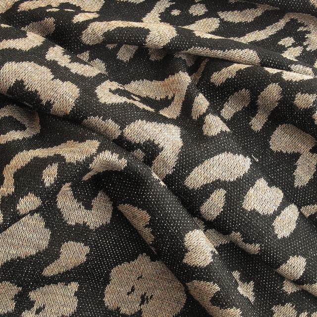 Jersey Stoff Stoffe Reptil in Khaki Schwarz