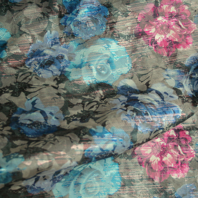 Lila blaufarbener Blumenbrokat Jacquard