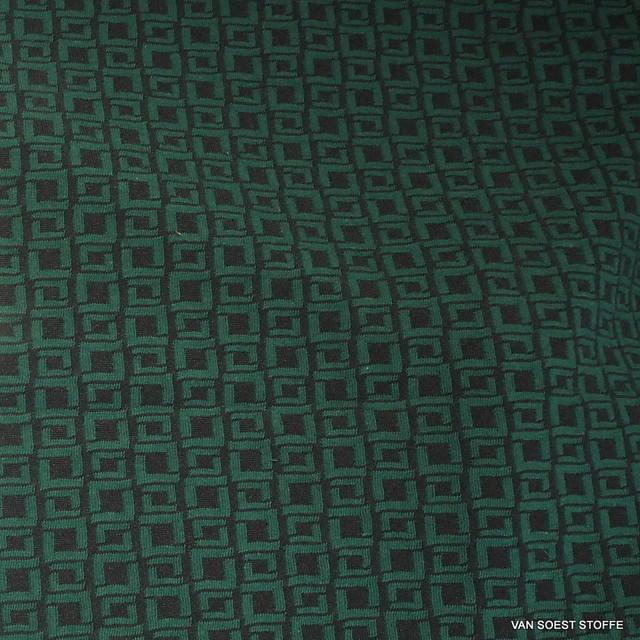 Mode Stoffe Jersey -  Stretch Mini Karo in Schwarz / Grün