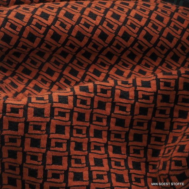 Mode Stoffe Jersey -  Stretch Mini Karo in Schwarz / Orange