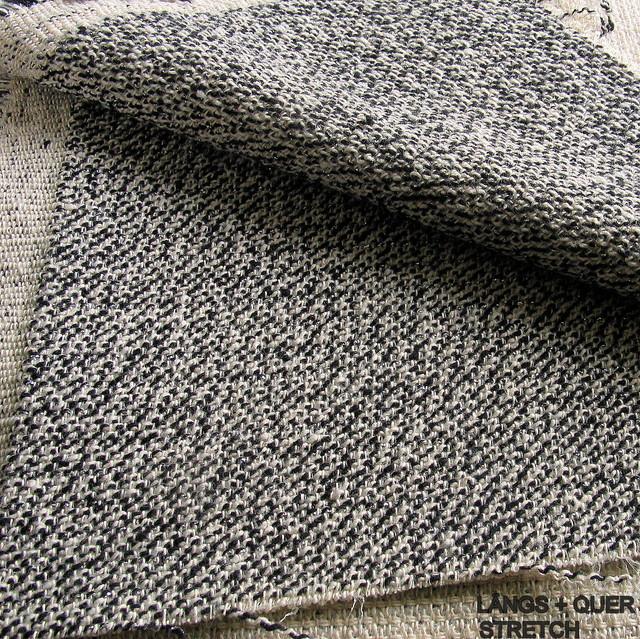 Modestoffe Italien - Stretch Tweed in Schwarz - Weiß