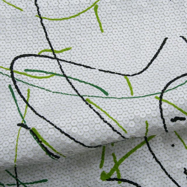 Pailletten-Dripping in Bianco Grassgrün und Schwarz