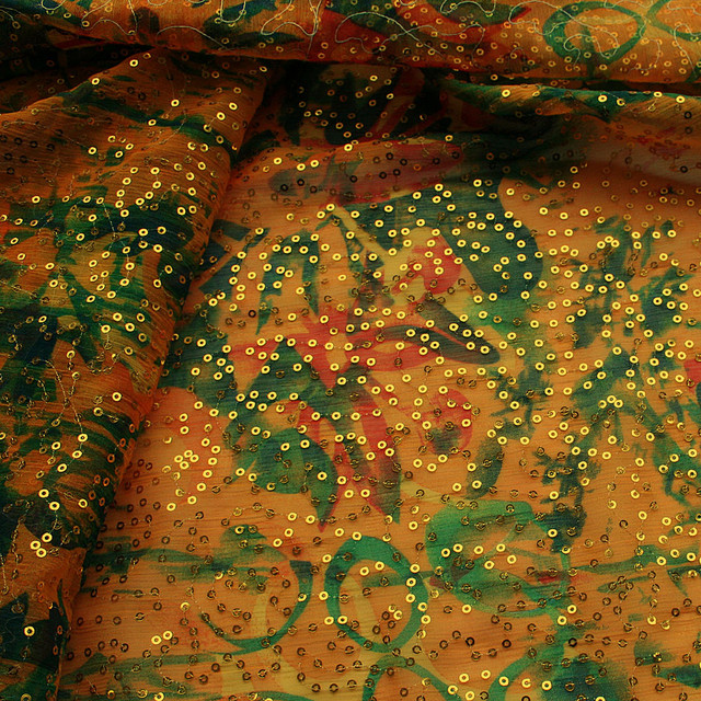 Paisley Druck Pailletten -  Chiffon gelb grün rot