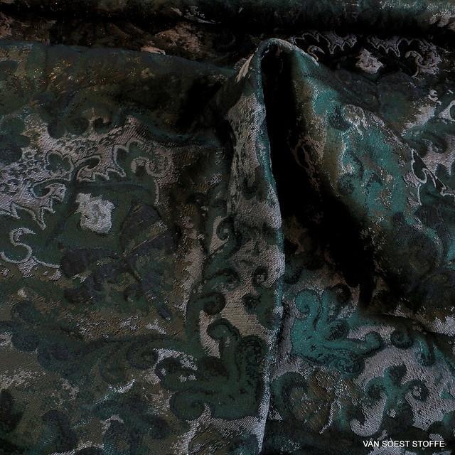 Paisley Metallic Jacquard in Oliv-Grau