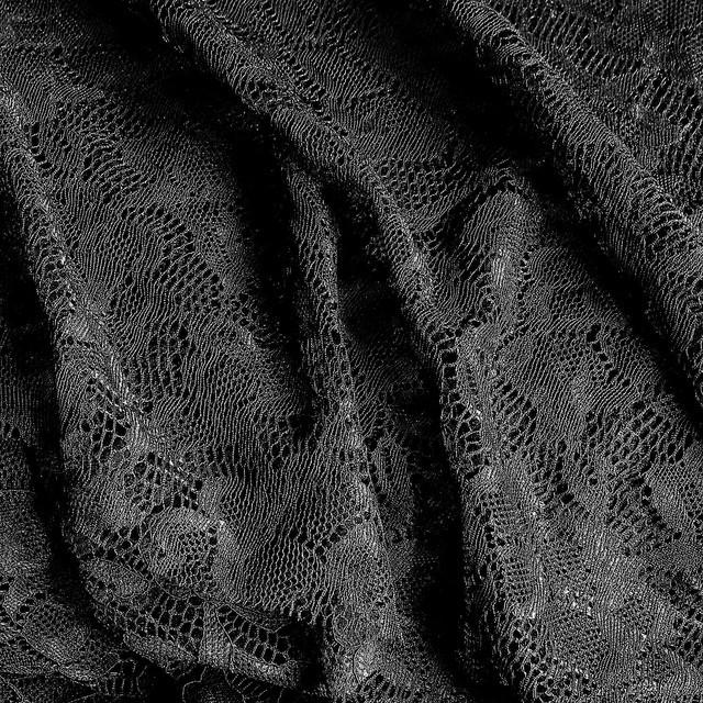 Schwarze Stretch Blumen Spitze Stoff