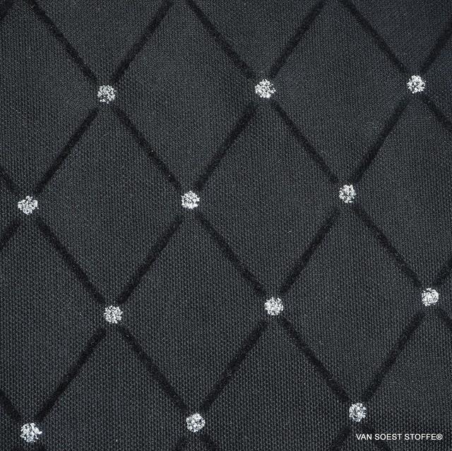 schwarzer Rautenflockprint mit silbernen Punkten auf schwarzem Stretch Tüll