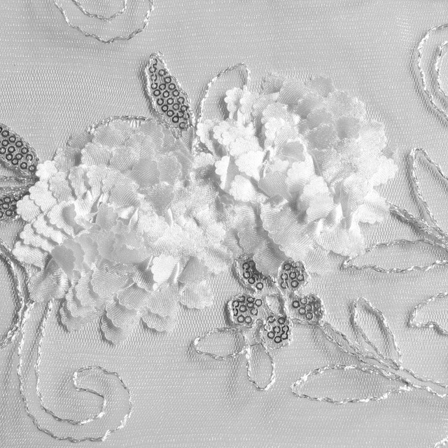 Silber Pailletten auf weiße Blüten Spitze und echte Silberfäden