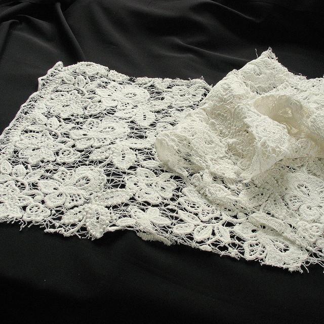 Spitzenstoffe kaufen: Schwere  Guipure Soft Spitze in Weiß