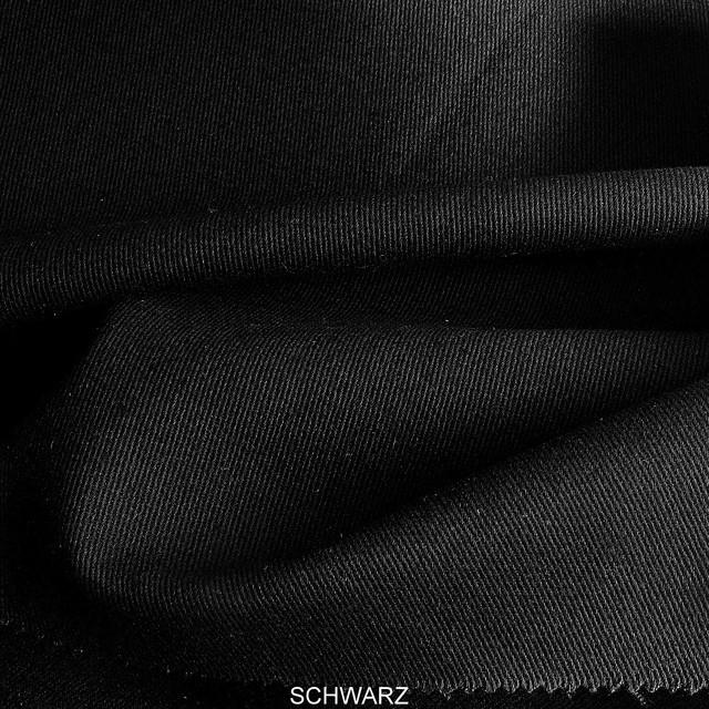Stretch Baumwoll Köper in Schwarz