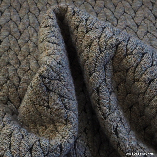 Stretch Doppel Jersey Fischgrat in Camel Melange
