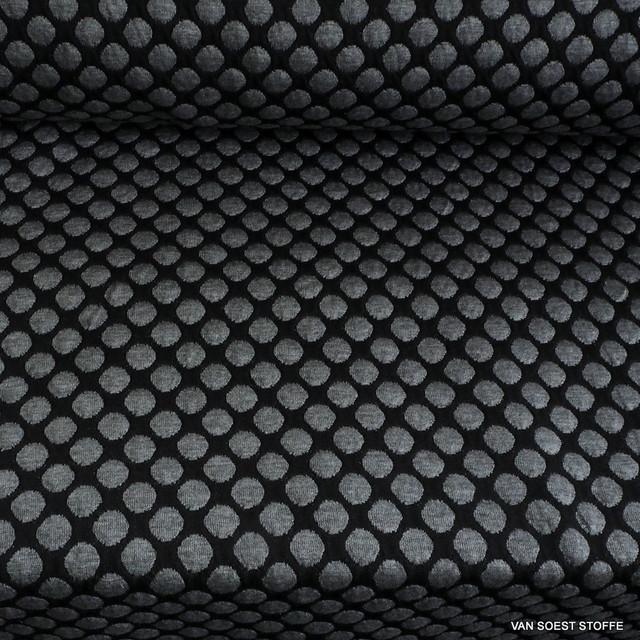Stretch Doppel Jersey Tupfen in Grau Melange