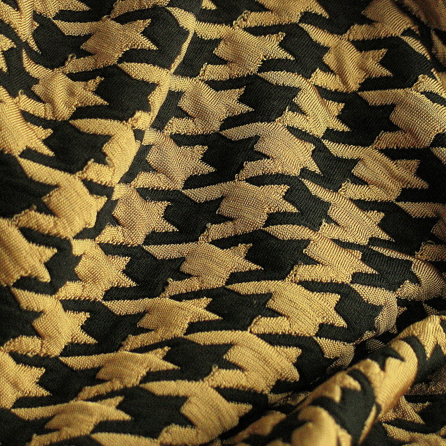 Stretch Hahnentritt Jersey Stoff in Camel Schwarz