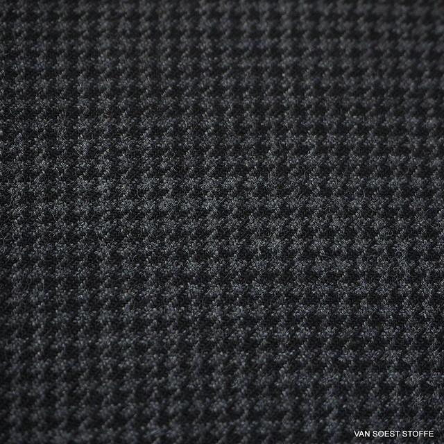 Stretch Hahnentritt Wollmischung in Grau Melange
