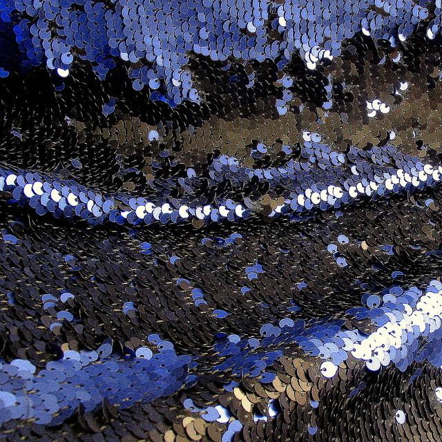 Stretch Zauber Pailletten Schwarz-Kobalt Blau Matt auf Jersey