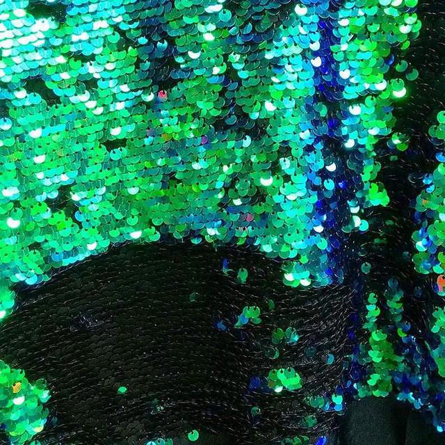 Stretch Zauber Pailletten Schwarz-Matt-Grün-Glänzend auf Tüll