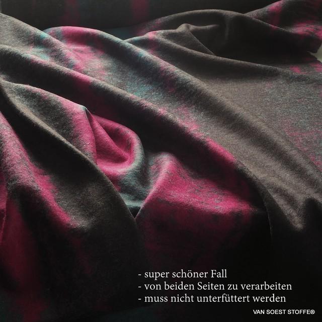 unregelmäßige Längsstreifen Braun Anthrazit Magenta Petrol  - gekochte Wollmischung | Ansicht: unregelmäßige Längsstreifen Braun Anthrazit Magenta Petrol  - gekochte Wollmischung