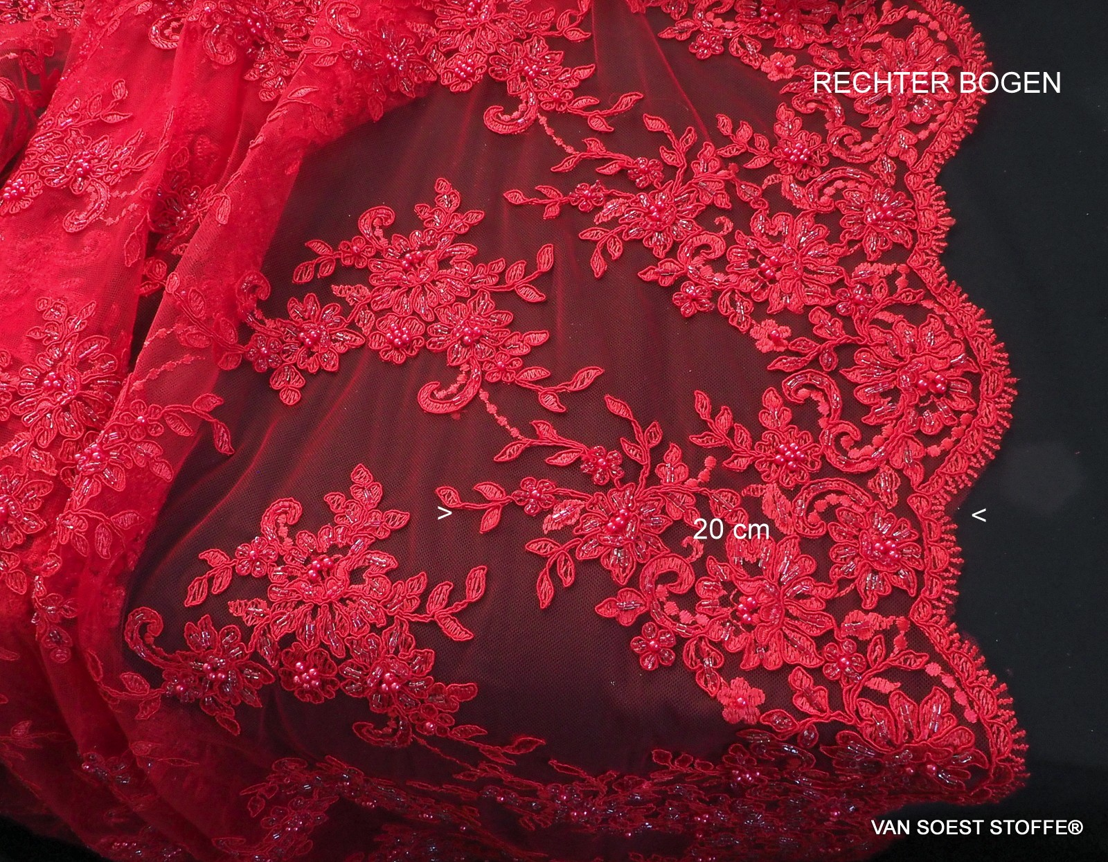5e0e9ac776f489 Couture Ton in Ton Scharlach Roter Spitze mit Perlen und Straß ...