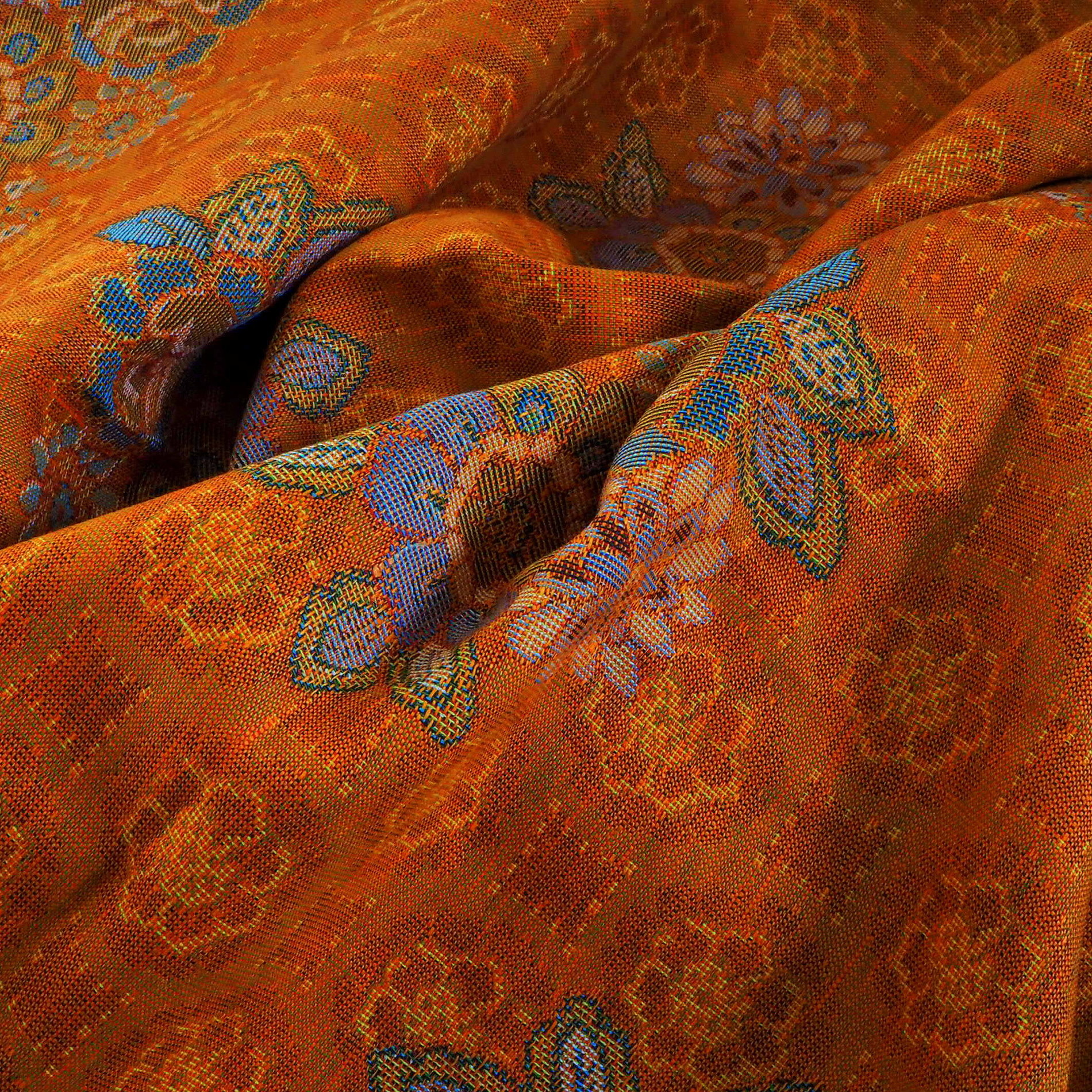 orange farbiger leinen baumwoll jacquard dekostoffe. Black Bedroom Furniture Sets. Home Design Ideas